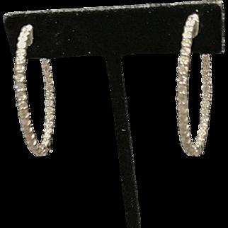 14 K White Gold Large Oval Diamond Hoop Earrings. 3.50cttw