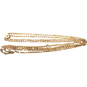 Antique 14 k Rose Gold Filled  Victorian Lorgnette Necklace Or Watch Fob Chain Circa 1890's.
