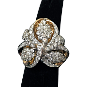 18K and Platinum Vintage 1950's Diamond Cluster Ring