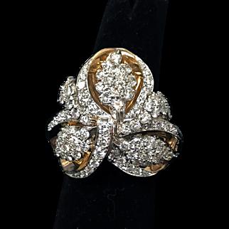 18K and Platinum Vintage 1950's Diamond Cluster Ring