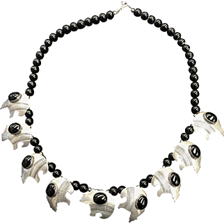 Sterling Silver & Black Onyx  Navajo Bear Necklace  Signed A. Marion