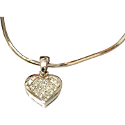 14K White Gold Diamond Princess Cut Heart Pendant on Snake Chain.