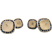 18K White Gold Art Deco Diamond & Natural Blue Sapphire Cuff links  Circa:1920""