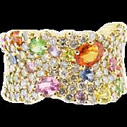 14k YG Ladies Multi color Sapphires & Pave'Diamond Band