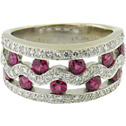 14 K White Gold Ruby and Diamond Band Ring,  Vintage