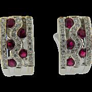 14 K White Gold Diamond & Ruby Earrings Vintage