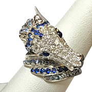 18K  Estate Vintage White Gold Pave' Diamonds and  Blue Sapphire Horse Head Ring