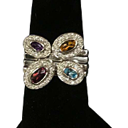 18 K White Gold Multi color gems set of 4 Stack Rings