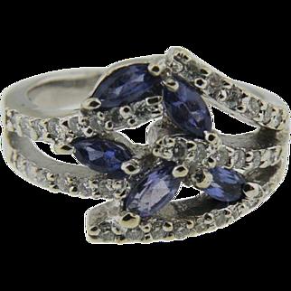 14K White Gold marquise Tanzanite & Pave' Diamond Ring