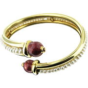 18 K Yellow Gold Italian Pearl and enamel Vintage Cuff Bracelet