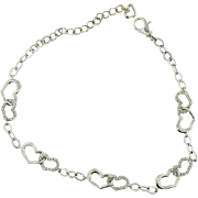 18K White Gold Double Diamond Heart Tennis Bracelet  0.50ct.