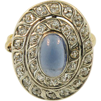 14K Yellow gold, White gold  Art Deco Diamond  Ring  with   Cabochon Sapphire Center.