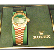 18K Yellow Gold Ladies Rolex Watch Datjust with Green  malachite  Face