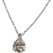 Tiffany & Co GIA CERT. Pear Diamond 1.10cttw. Pendant platinum set and 16 inch Platinum Tiffany  Chain