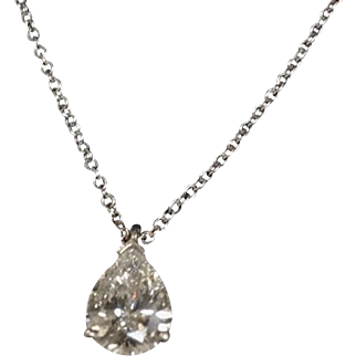 Tiffany & Co GIA CERT. Pear Diamond 1.10cttw. Pendant platinum set and 16 inch Platinum Tiffany  Chain