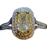 18k White Gold Cushion Cut light Yellow Diamond by Designer Henri Daussi  0.97ct center 1.75 cttw