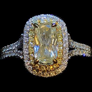 18k White Gold Cushion Cut light Yellow Diamond by Designer Henri Daussi  0.97ct center 1.75 cttw
