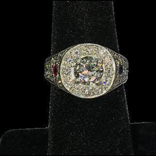Vintage Art Deco Platinum Diamond Ring 2.00cttw.  Circa 1920's.