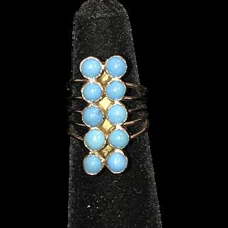 Estate vintage 18K & natural cabochon turquoise ring