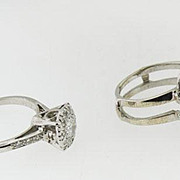 Platinum Vintage Diamond  Engagement Ring in a 2 Piece Ring Guard enhancer