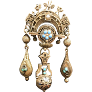 Victorian 14K Gold Persian Turquoise & Seed Pearl Brooch