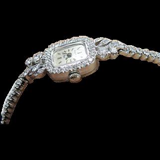 14K White Gold Bulova Vintage Diamond Watch Circa 1930's/1940's.