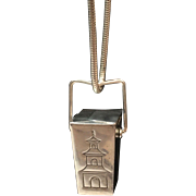 Tiffany & Co.  Sterling Silver Vintage Chinese take out box pendant & sterling T. & Co  serpent chain