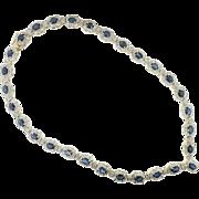 14 K Yellow Gold Diamond & Sapphire Necklace