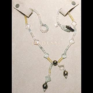 Tiffany & Co. Iridesse Black Pearl,Aquamarine, Citrine & quartz necklace Vintage