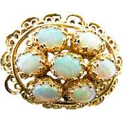 14 K Yellow Gold Filigree Vintage Brooch/Pendant With 7 oval Australian  Opals.