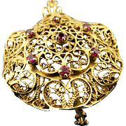 14 K Yellow Gold Antique Filigree Brooch, Pendant With 7 Rubies