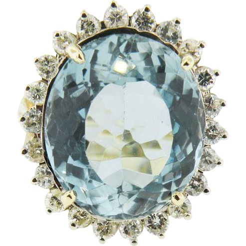14K Yellow Gold Natural Aquamarine Approx. 14.5 cttw.  Diamond Halo Ring Approx. 0.50cttw