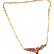 14 K Yellow Gold Marques Ruby & Diamond necklace on Mariner Link Chain