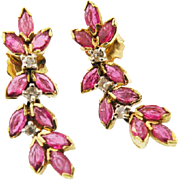 14k Yellow Gold Ruby & diamond drop Earrings.