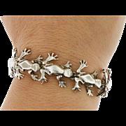 Sterling Silver Solid Leaping Frog Link Bracelet Vintage 36 Grams.