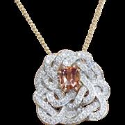 14K White Gold, Yellow Gold  Vintage Custom Made Diamond Pendant With Cushion Cut Sapphire Center.