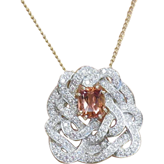 14K White Gold, Yellow Gold  Vintage Custom Made Diamond Pendant With Cushion Cut Sapphire Center.