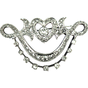 14K White Gold Art Deco Heart Diamond Brooch approx. 1.75cts. 1920/1930's.