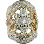 18 K Yellow gold Handmade custom Diamond Cluster Ring Total Weight Approx. 4.42ct. Vintage