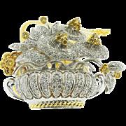 18K White Gold Yellow Gold White & yellow Diamond Brooch & Pendant