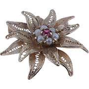 14K Yellow Gold Vintage Ruby & Pearl  Brooch 1930's/40's.