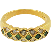 18K yellow gold Emerald & diamond Vintage  Band