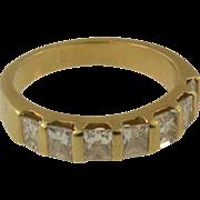 14 K Yellow Gold Vintage Princess  Diamond Anniversary Band