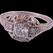 Art Deco Platinum Diamond Ring Circa 1920's.