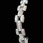 Platinum Link Unisex Diamond Bracelet Vintage Approx. 7.25cttw.
