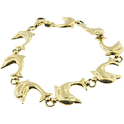 14 K Yellow Gold Italian Solid puffed dolphin Link Bracelet