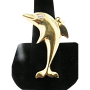 14k Solid Yellow Gold Flying Dolphin Pendant with 0.10ct Diamond eye