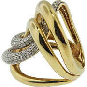14K Yellow Gold Custom Made Large Diamond Swirl Ring. Vintage