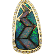 14 K Yellow Gold Inlaid Opal & Diamond Pendant