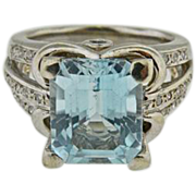 14 K White Gold Aquamarine & Diamond Ring